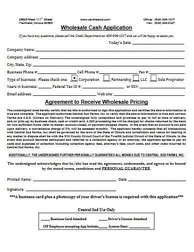 wholesale cash agreement
