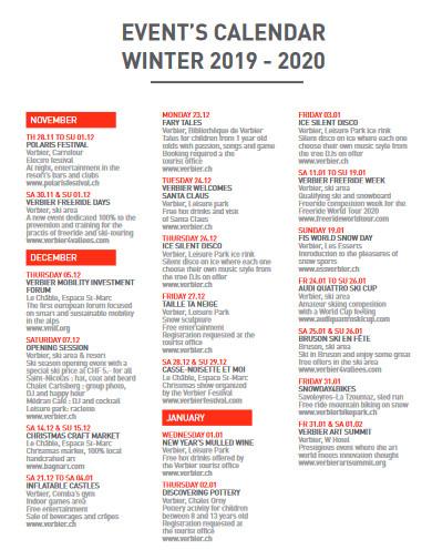 winter event calendar
