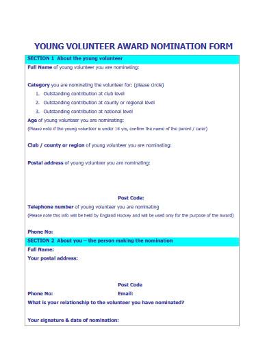 young volunteering nomination form