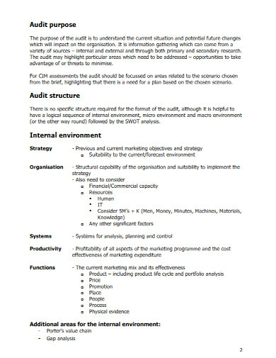 academy marketing audit template