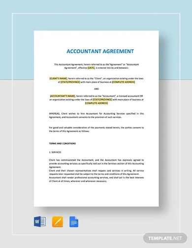 accountant agreement templates