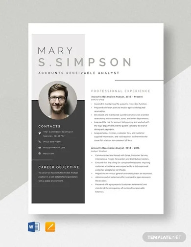 accounts receivable analyst resume template