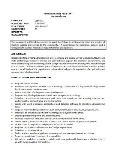 administrative assistant job description example