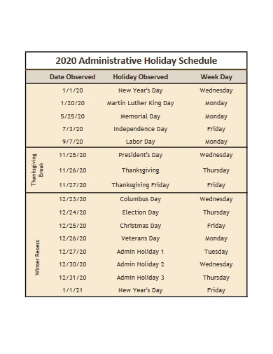 administrative holiday schedule