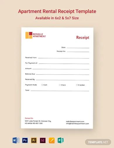 apartment rental receipt template