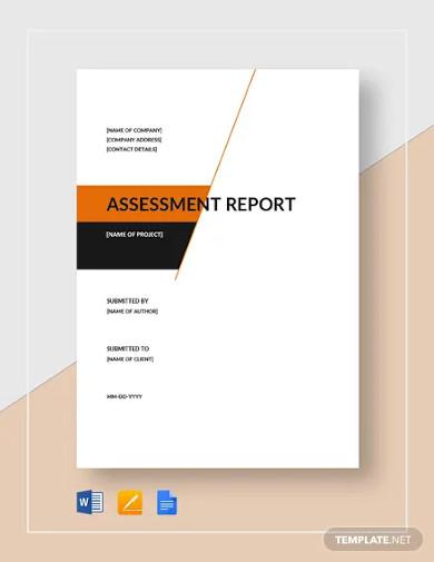 assessment report template