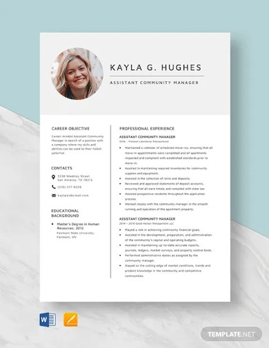 assistant community manager resume template