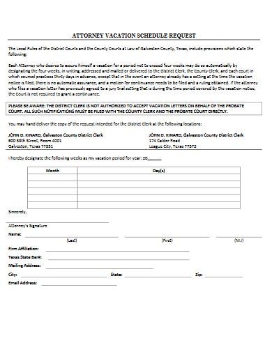 attorney vacation schedule request in pdf