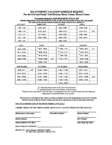 attorney vacation schedule request