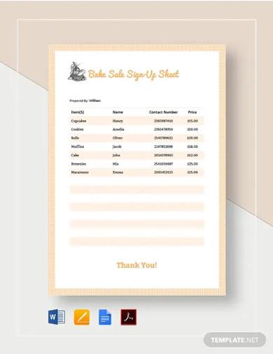 bake sale sign up sheet templates