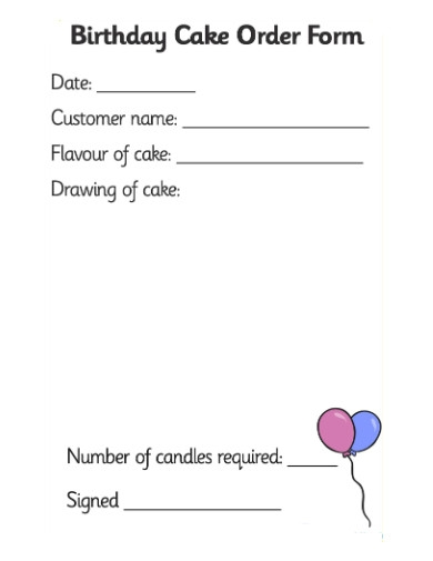 bakery birthday cake order form