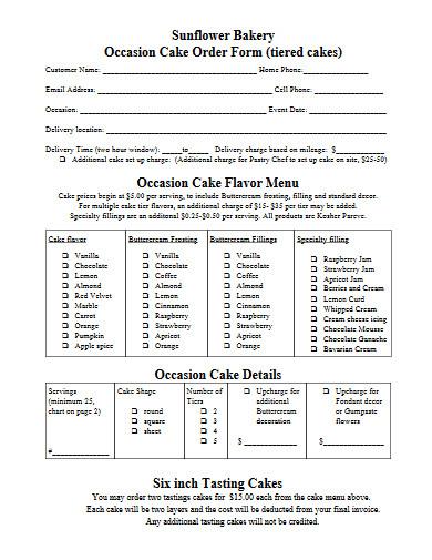 bakery cake order