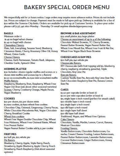 bakery special order menu
