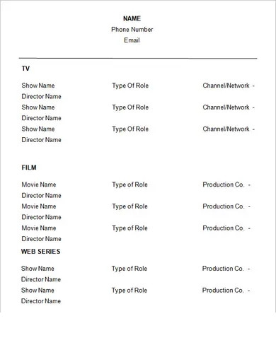 basic acting resume template