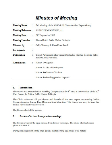 basic minutes of meeting