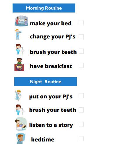 basic morning routine planner