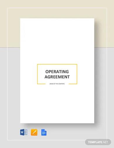 basic operating agreement templates