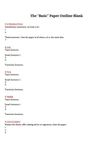 basic paper outline blank