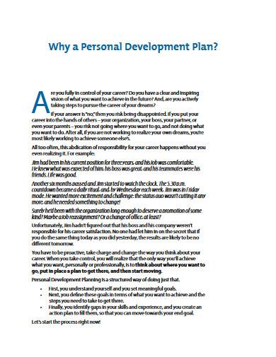basic personal development plan