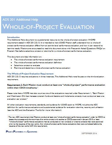 basic project evaluation