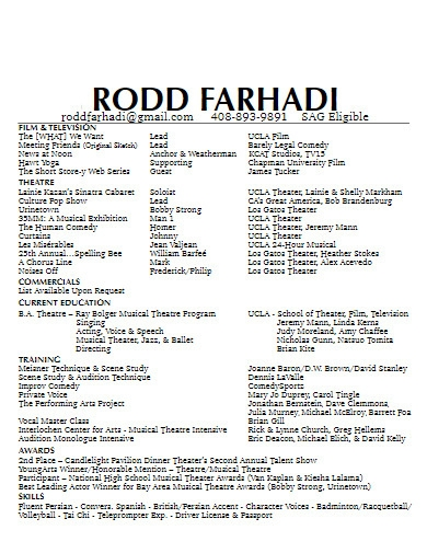 basic theater resume