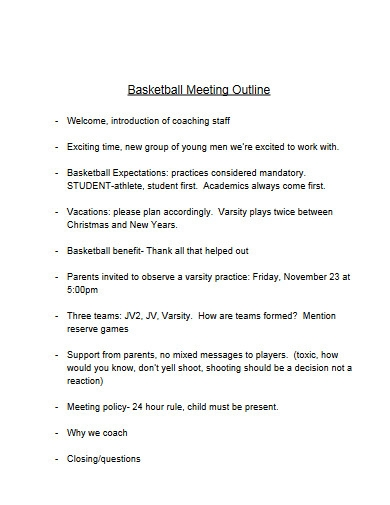 basketball meeting outline