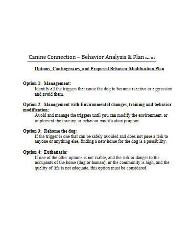 behavior modification plan and analysis