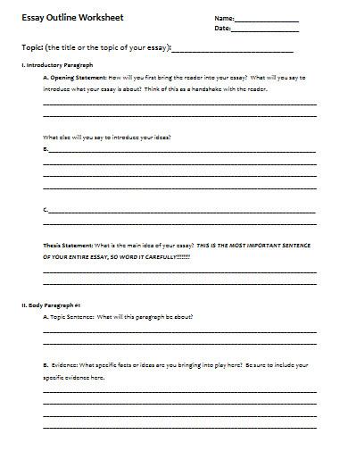 blank essy outline worksheet template
