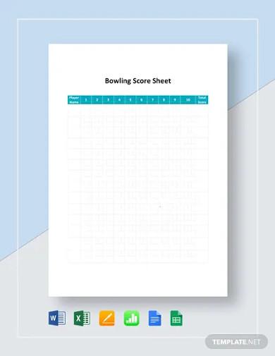 bowling score sheet template