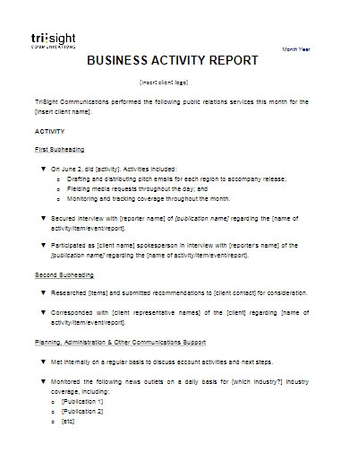 business activity report template
