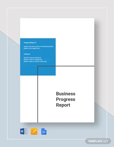 business progress report templates