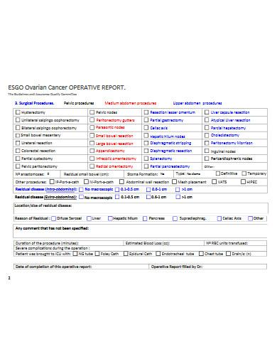 cancer operative report
