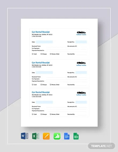 car rental receipt template