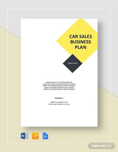 car sales business plan template