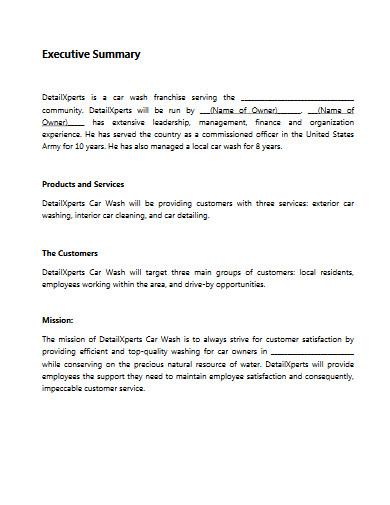 car wash business plan sample