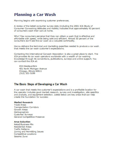 car wash business plan in pdf