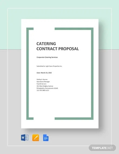 catering contract proposal template