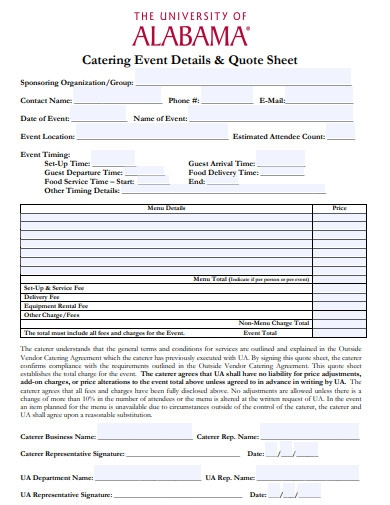 catering event details quote sheet