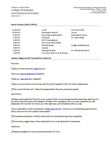college event itinerary