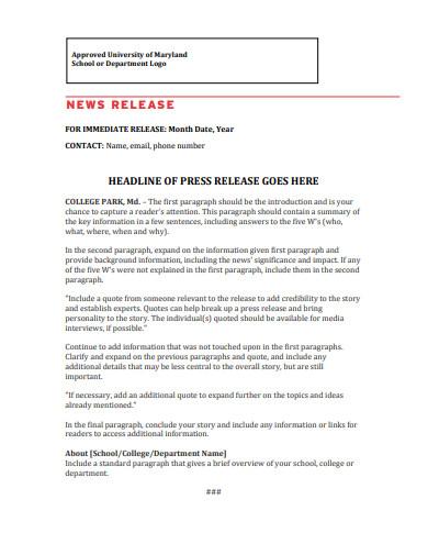 college press release
