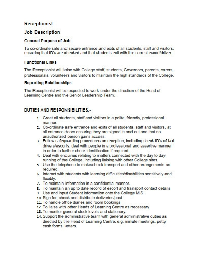 college receptionist job description