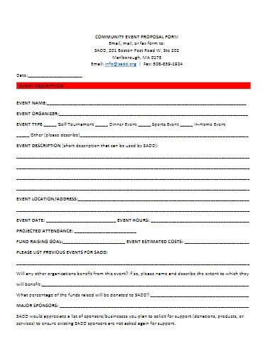 community fundraiser event proposal form