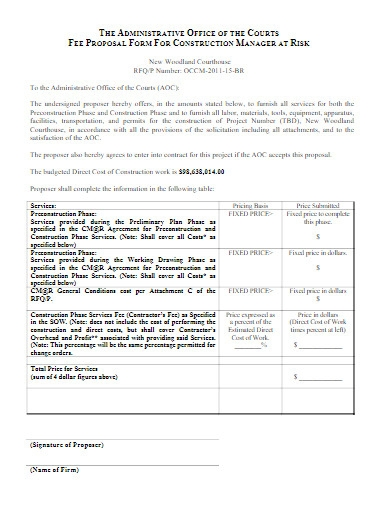 construction fee proposal