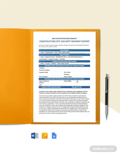 construction security incident report template