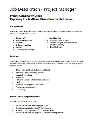 consultancy project manager job description