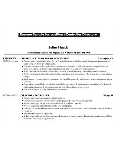 controller director cv example
