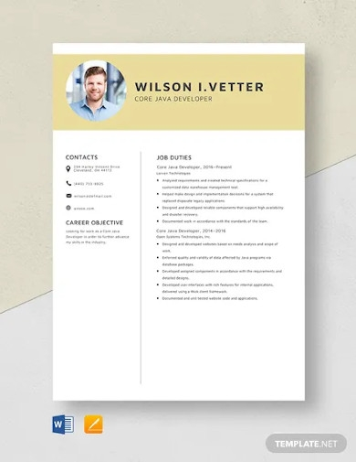 core java developer resume template