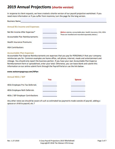 corp payroll worksheet