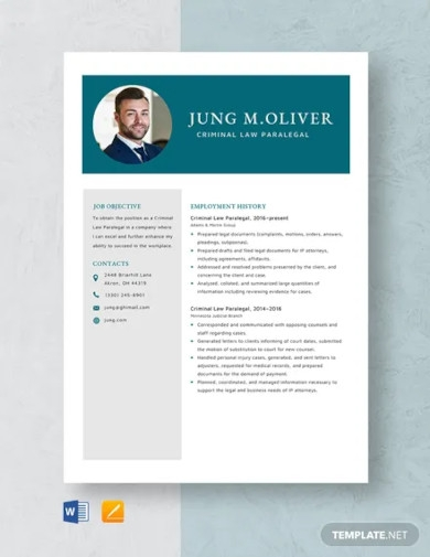 criminal law paralegal resume template