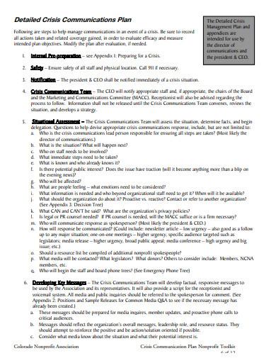 crisis communication plan for non profit